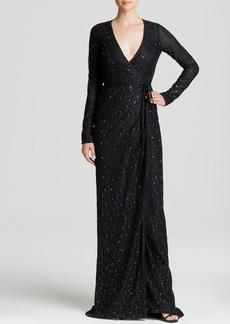 DIANE von FURSTENBERG Maxi Wrap Dress - Elle Embellished Lace