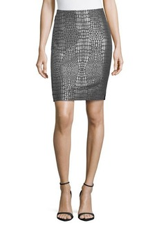Diane von Furstenberg Metallic Jacquard & Ponte Skirt