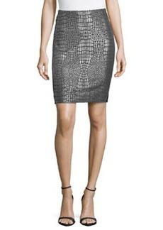 Diane von Furstenberg Metallic Jacquard & Ponte Skirt, Nightfall/Silver