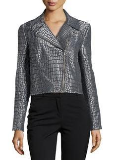 Diane von Furstenberg Metallic Jacquard Front-Zip Jacket, Nightfall/Silver