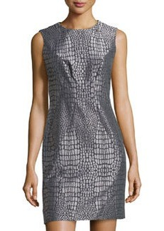 Diane von Furstenberg Metallic Jacquard Round-Neck Dress, Nightfall/Silver