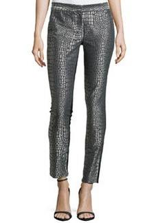 Diane von Furstenberg Metallic Jacquard Straight-Leg Pants, Nightfall/Silver