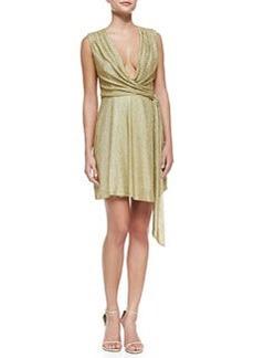 Diane von Furstenberg Metallic Jersey Faux-Wrap Dress