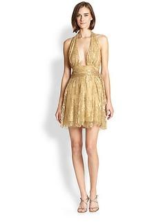 Diane von Furstenberg Metallic Lace Halter Dress