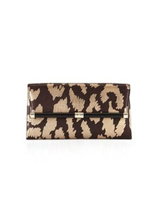 Diane von Furstenberg Metallic Printed Envelope Clutch Bag, Mahogany/Gold