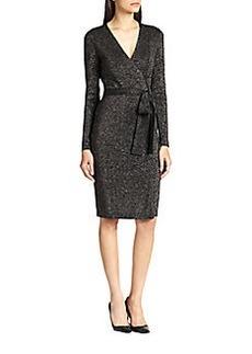 Diane von Furstenberg Metallic Wrap Dress