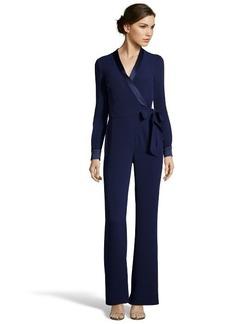 Diane Von Furstenberg midnight blue crepe 'Margot' wrap-style jumpsuit