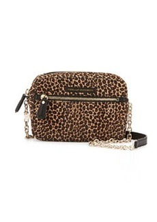 Diane von Furstenberg Milo Leopard-Print Calf-Hair Crossbody Bag, Natural/Black
