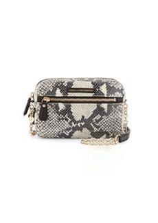 Diane von Furstenberg Milo Snake-Embossed Leather Crossbody Bag, Roccia/Black