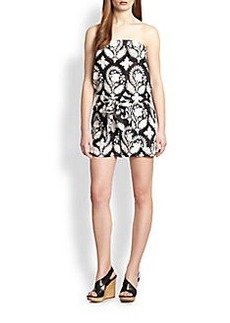 Diane von Furstenberg Miranda Cotton & Silk Strapless Printed Short Jumpsuit
