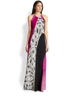 Diane von Furstenberg Naomi Silk Mixed-Print Maxi Dress