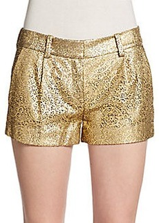 Diane von Furstenberg Naples Lasercut Metallic Leather Shorts
