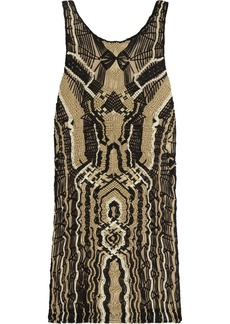 Diane von Furstenberg Neapoli metallic macramé mini dress