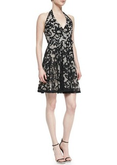 Diane von Furstenberg New Amelia Lace Halter Flare Dress