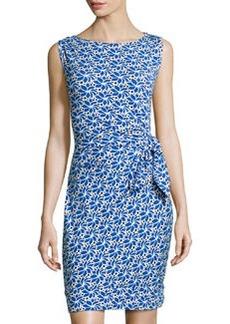 Diane von Furstenberg New Della Gathered Sleeveless Dress, Lace Petals Blue