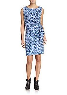 Diane von Furstenberg New Della Geo Floral Print Side Tie Dress