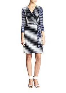 Diane von Furstenberg New Julian Nautical-Stripe Wrap Dress