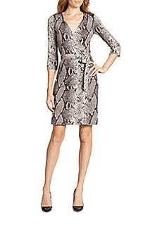 Diane von Furstenberg New Julian Two Silk Jersey Wrap Dress/Python Print