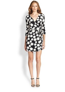 Diane von Furstenberg New Julian Two Star Printed Mini Wrap Dress