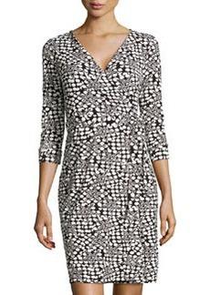 Diane von Furstenberg New Julian Two Stars & Dots Wrap Dress, Black/White
