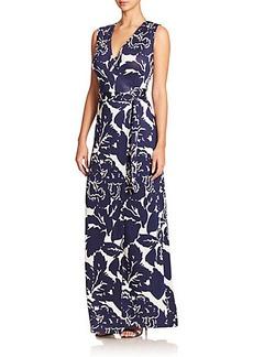Diane von Furstenberg New Yahzi Printed Silk Jersey Maxi Dress