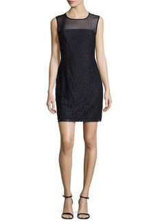 Diane von Furstenberg Nisha Sleeveless Illusion Lace Sheath Dress, Black