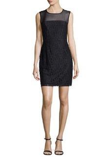 Diane von Furstenberg Nisha Sleeveless Illusion Lace Sheath Dress, Black