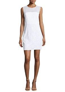 Diane von Furstenberg Nisha Sleeveless Illusion Lace Sheath Dress, White