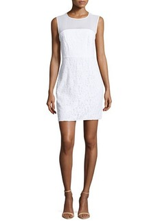 Diane von Furstenberg Nisha Sleeveless Illusion Lace Sheath Dress, White
