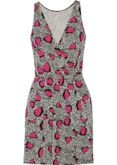 Diane von Furstenberg Oblixe printed stretch-jersey mini wrap dress