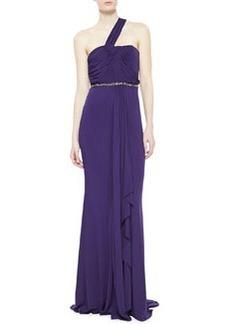 Diane Von Furstenberg One-Shoulder Draped  Gown, Amethyst