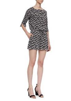 Diane von Furstenberg Opal Jungle Animal-Pattern Short Jumpsuit