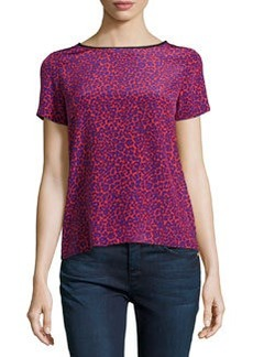 Diane von Furstenberg Ora Leopard-Print Combo Blouse, Red/Purple/Black