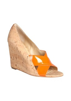 Diane Von Furstenberg orange patent and cork 'Tafari' covered wedges
