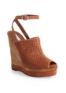 Diane von Furstenberg Paris Perforated Suede Wedge Sandals