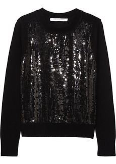 Diane von Furstenberg Paryse sequined wool and cashmere-blend sweater