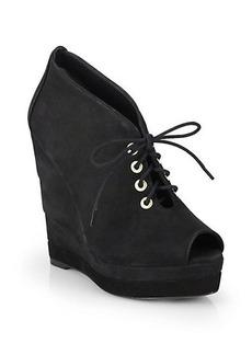 Diane von Furstenberg Payton Suede Open Toe Wedge Ankle Boots