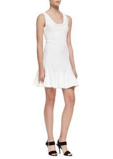 Diane Von Furstenberg Perry Sleeveless Flutter Dress, White