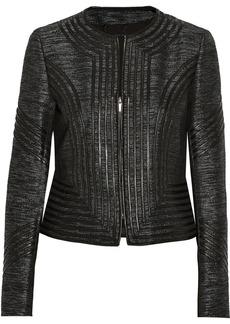 Diane von Furstenberg Phoenix leather-trimmed metallic tweed jacket