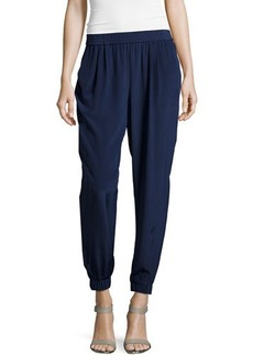 Diane von Furstenberg Pleated Silk Ankle Pants