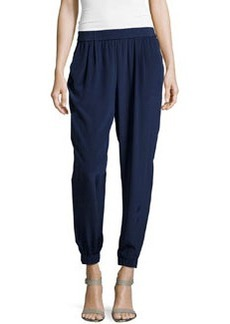 Diane von Furstenberg Pleated Silk Ankle Pants, Midnight