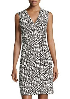 Diane von Furstenberg Polka Star Sleeveless Wrap Dress, Black