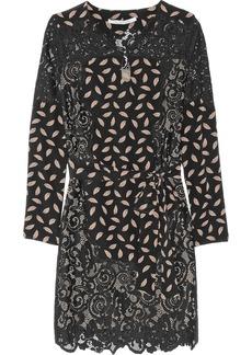 Diane von Furstenberg Portia lace-paneled silk mini dress