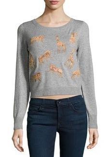 Diane von Furstenberg Praia Cropped Animal-Applique Sweater