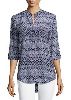 Diane von Furstenberg Printed High-Low Blouse, Moroccan Ditsy Midnight