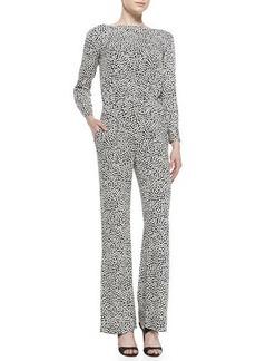 Diane von Furstenberg Printed Stretch-Silk Long Jumpsuit