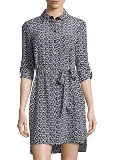 Diane von Furstenberg Prita Floral-Lace Silk Shirtdress, Black/White
