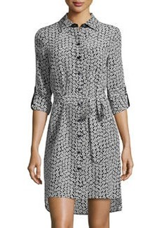 Diane von Furstenberg Prita Floral Silk Shirtdress, Black/White