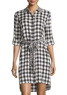 Diane von Furstenberg Prita Gingham Long-Sleeve Silk Shirtdress