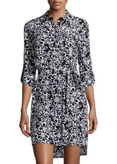 Diane von Furstenberg Prita Halo-Petal Silk Shirtdress